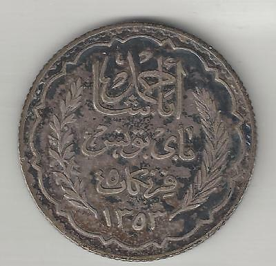 Tunisia,  Ah1353,  5 Francs,  Silver,   Km#261,  Very Fine-Extra Fine