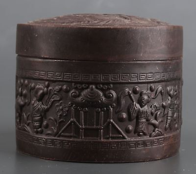 Rare Chinese Old Copper Hand Carved Box Collection Gift Box