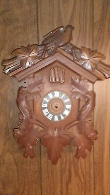 Vintage Cuckoo Clock Case With Topper Bird