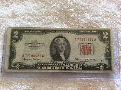 1953 Red Seal Two Dollar Legal Tender United States Note $2 Bill A77184923A