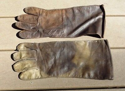 Original WW2 British Canadian RAF RCAF D Type Flight Gloves Gauntlets