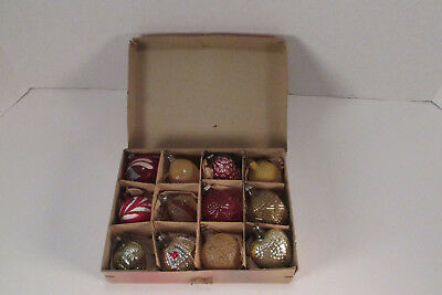 12 Small Antique Feather Tree Glass Christmas Ornaments Germany W / Box