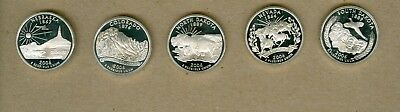 Five Different 2006-S U.S. Washington Quarters Proof Silver Coins