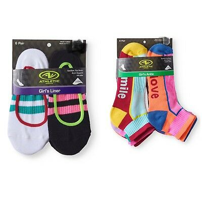 Athletic Works Girls 6 Pairs of Socks New