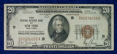1929 $20 Federal Reserve New York National Currency Banknote #B00976659A