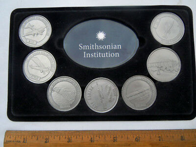 Vintage Smithsonian Institution 7-Piece Token Medallion Set in Fold-Out Easel