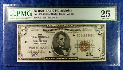 1929 $5 Federal Reserve Philadelphia National Currency Banknote PMG VF25
