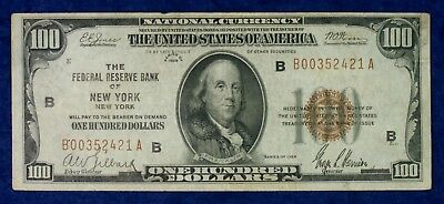 1929 $100 Federal Reserve New York National Currency Banknote #B00352421A