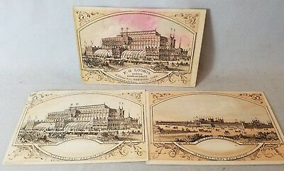 3 Diff Trade Cards 1876 Centennial Exhibition PA One With Cigar Advertising NR