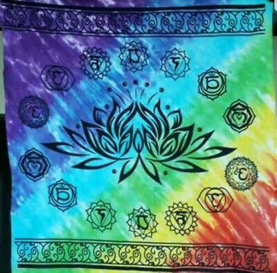 """NEW 36"""" x 36"""" Chakra Lotus Altar Cloth wiccan wicca pagan witch"""