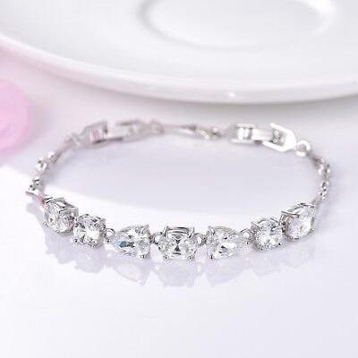 Women Stunning Charms Clear Sapphire Crystal White Gold Filled Bracelet Chain