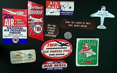 lot of 10 vintage Airline Airmail labels ~ early TWA airlines (lot#aaa5)