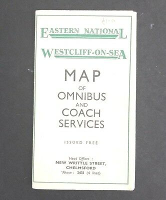 MAP of OMNIBUS Coach Services BUS Route WESTCLIFF-on-SEA Eastern National UK 50s