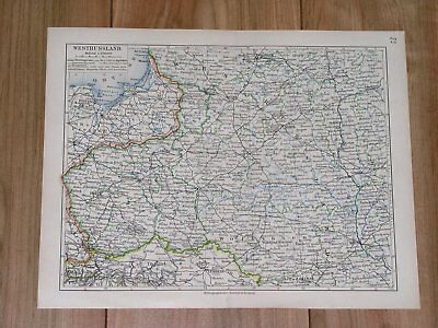 1905 Original Antique Map Of Poland Lithuania Ukraine Belarus Russia