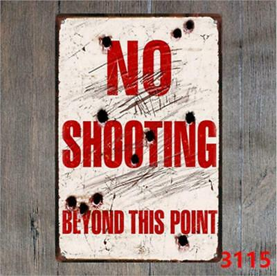 No Shooting Beyond Point Vintage Tin Signs Metal Plate Decor Art Wall Poster