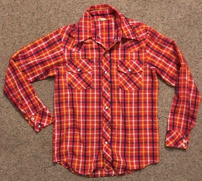 Vintage Western Shirt by Foxy. Red Yellow Blue w/ Pearlized Snaps Sz. Large