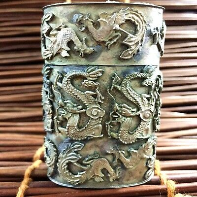 Rare Chinese Old Handwork Collectible Tibet Silver Dragon Phoenix Toothpick Box