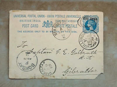 INDIA QV  Surch POST CARD SEA POST MAIL FROM JULLUNDAR VIA  BOMBAY TO GIBRALTAR