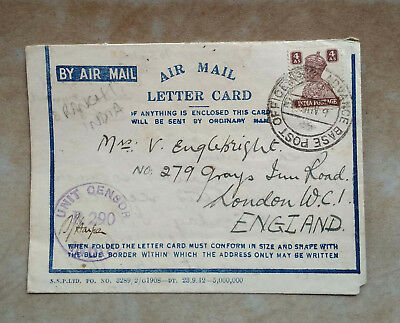 Kgvi Censored Air Mail Letter Card From Advance Base Post Office To England