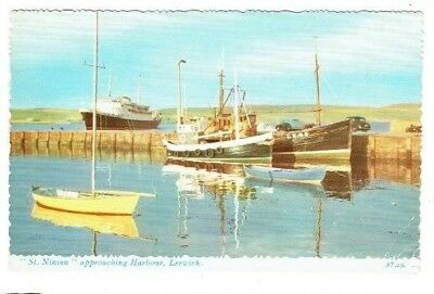 "Postcard "" St. Ninan "" Approaching Lerwick Harbour Shetland Scotland Used 1966"
