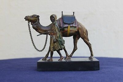 Cold Painted Vienna Bronze Camel Leader Franz Bergman