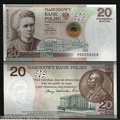Poland 20 Zlotych P182 2011 Nobel Marie Curie Sklodowska Commemorative Unc Note