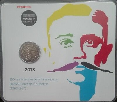 #rm# Blister 2 Euro Bu Commemorative France 2013 - Coubertin