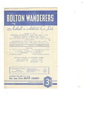 Bolton Wanderers v Notts County 1952 - 1953  FA Cup