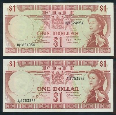 "Fiji: 1974 $1 QEII ""SET 2 DIFFERENT SIGS"". P71a & 71b NEF - Cat UNC $60, VF $8"