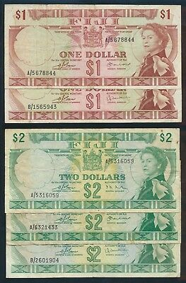 "Fiji: 1974 $1 & $2 QEII Portrait ""COMPLETE SIG SET OF 5 NOTES"". Pick 71a-72c"