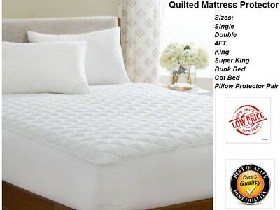 Quilted Mattress Protector Fitted Bed Cover Sheet Single-Double-King-Super King