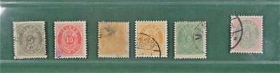 Iceland 6 Early Stamps  1876  (S1)
