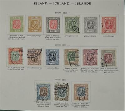 Iceland 15 Early Stamps  1907 - 1908 To 5 Kr.     (S5)