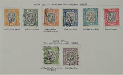 Iceland 8 Early Stamps  1907 - 1908  Official    (S6)