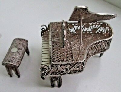Vintage Sterling Silver Filigree Baby Grand Piano and Bench Set