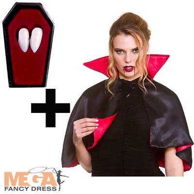 Mini Vampire Cape + Fangs Ladies Fancy Dress Womens Halloween Costume Adults Acc