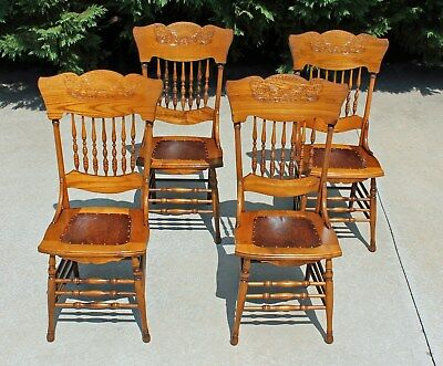 4~ Antique Victorian Oak Pressed & Spindle Back Dining Chairs Circa 1900