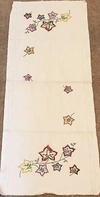 Vintage Finished Hand Embroidered Table Runner Pink Purple Leaves TO COMPLETE