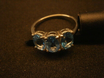 Gems TV Blue Topaz sterling silver ring Size N to O