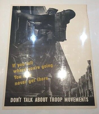 Original Poster WWII 1943 28x22 If You Tell Where You're Going You May Never Get