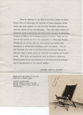 1914 Testimonial & Photo of Chair carried on Lincoln Funeral Train