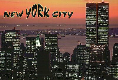 World Trade Center, The Twin Towers, New York City, NYC, At Sunset --- Postcard