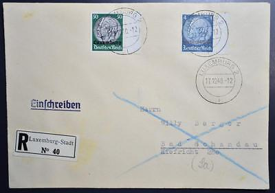 GERMANY in LUXEMBOURG 1940 Provisionals on RARE Reg-Cover to Deutschland LOOK