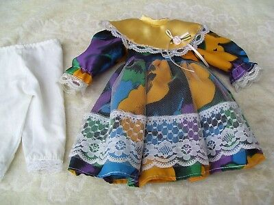 Alte Puppenkleidung Silky Lacy Dress Outfit vintage Doll clothes 38 cm Girl