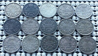 Collection of 15 Coins ❀ King Edward VII Era ❀ Canada silver 5 Cents