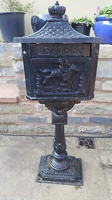 Antique Cast Iron Letter/Post box on stand - ideal garden ornament or Christmas