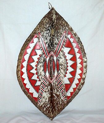 """African Handcrafted Shield Hyde And Fur 30"""" x 18"""" Native"""
