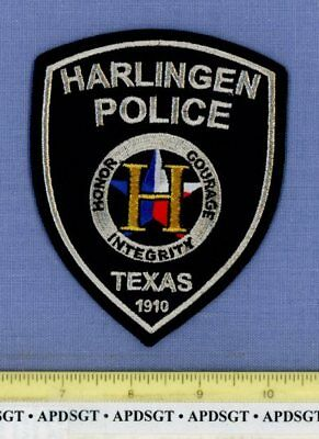 HARLINGEN TEXAS Sheriff Police Patch GOLD & SILVER MYLAR 'H'