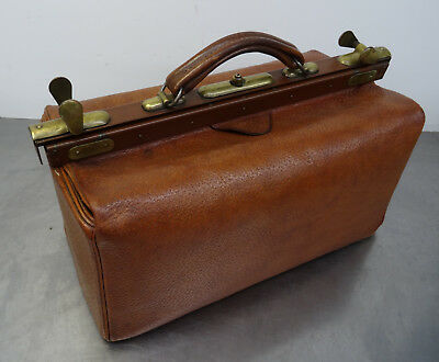 antique doctor's bag - Antike gr. Hebamme Koffertasche Koffer Arzt Leder Tasche