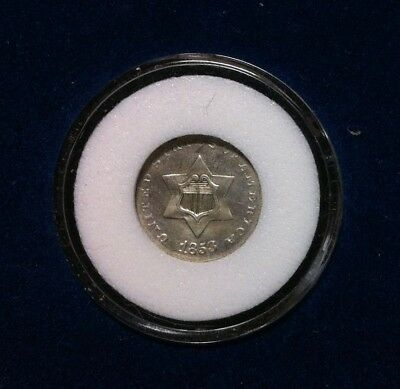 1853 Three Cent Silver Piece  ~ Vf Cleaned Nice Coin
